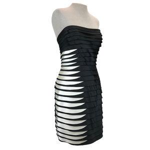 BCBGMaxAzria Layered Ruffle Strapless Dress 10